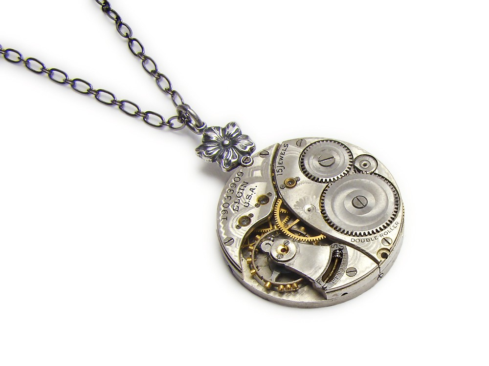 Steampunk necklace guilloche elgin pocket watch antique 1900 steampunk necklace guilloche elgin pocket watch antique 1900 engraving ruby jewels antiqued silver flower pansy with genuine pearl filigree vintage pendant mozeypictures Image collections