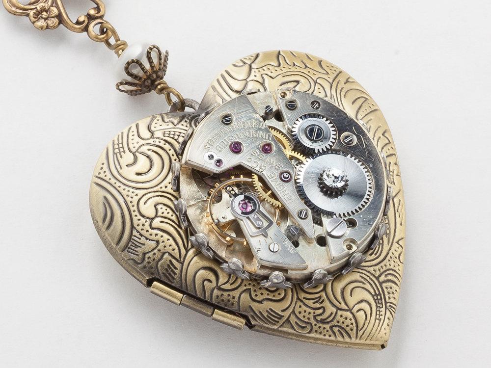 Steampunk Necklace Heart Locket silver watch movement gears gold leaf flower pearl crystal pendant Statement Steampunk jewelry