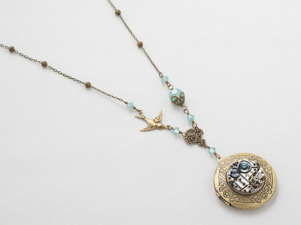 Steampunk Necklace Locket silver watch movement blue crystal gold bird flower leaf pendant Statement Steampunk jewelry