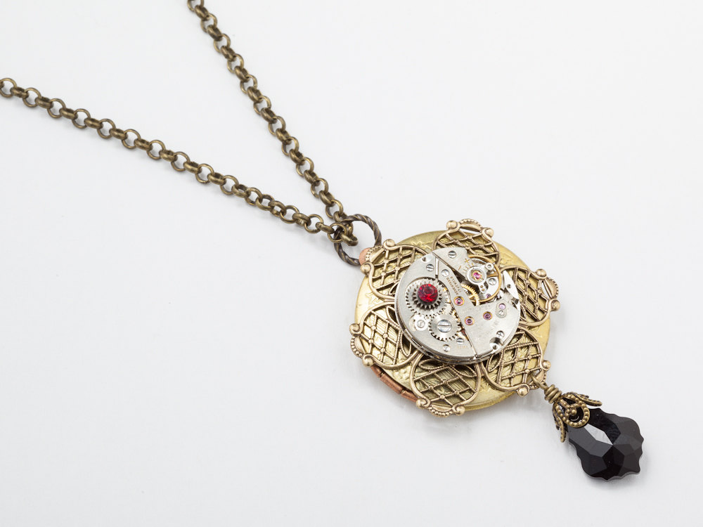 Steampunk Necklace Locket silver watch movement gears gold filigree flower red black crystal Steampunk jewelry