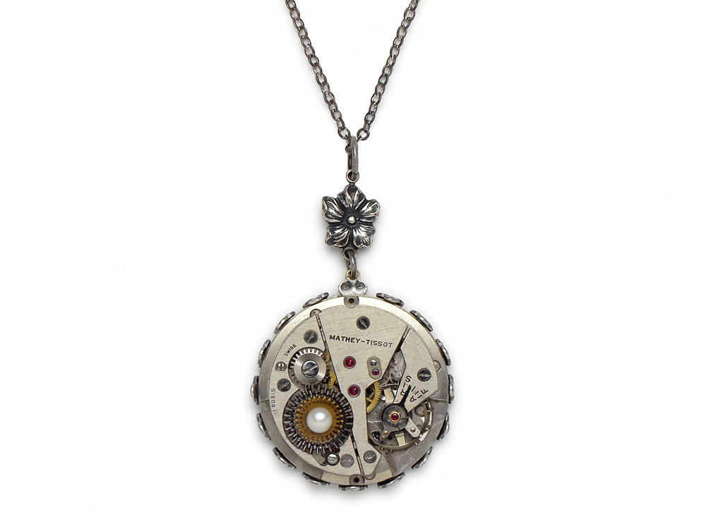 Steampunk necklace mathey tissot wristwatch gears antique movement steampunk necklace mathey tissot wristwatch gears antique movement 1940 17 ruby jewel silver flower with filigree bezel setting and genuine freshwater pearl audiocablefo