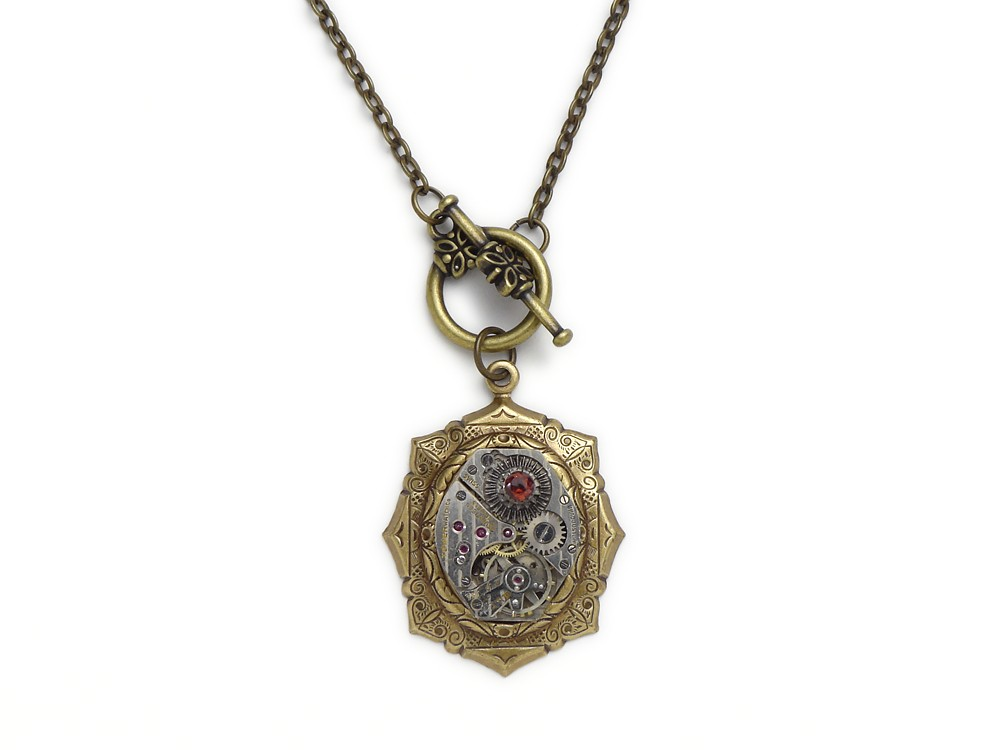 Steampunk Necklace Pinstripe Watch Movement Antique 1940 Silver Gear