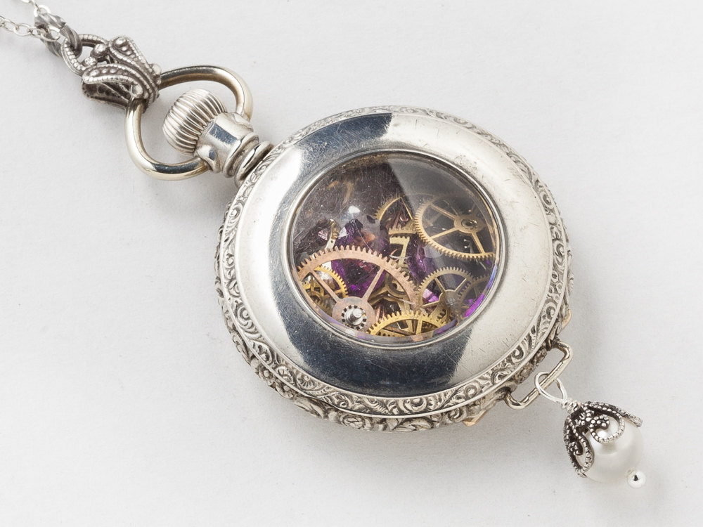 Steampunk Necklace pocket watch case with gears rose gold flower