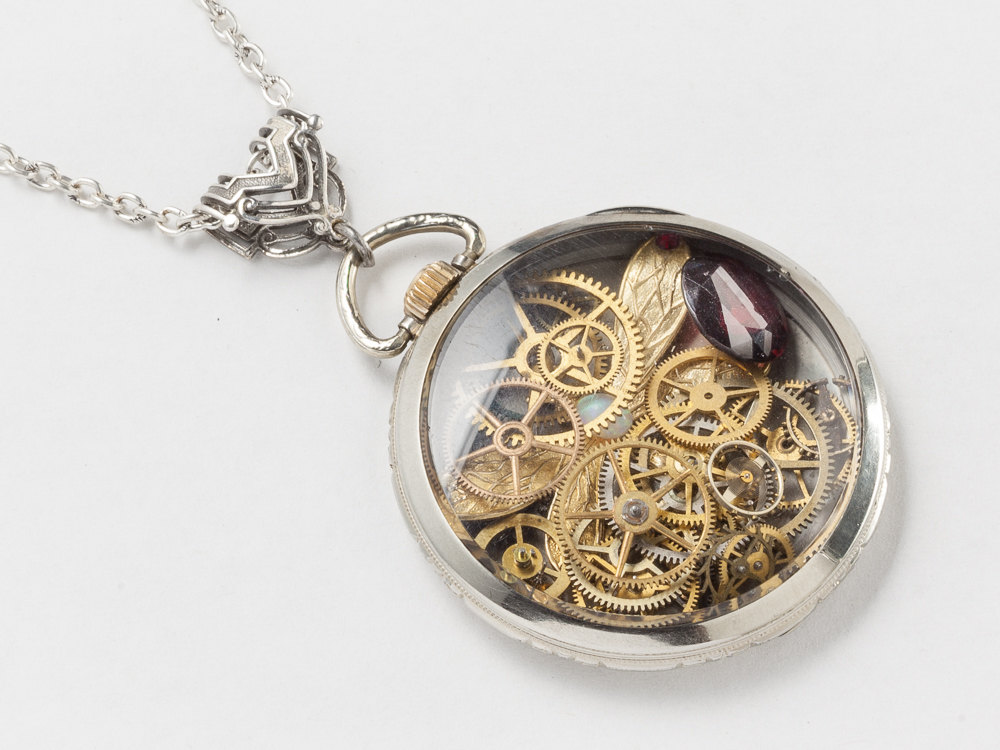 Steampunk Necklace pocket watch movement case 14k white gold filled gears dragonfly Opal red Garnet locket Steampunk jewelry
