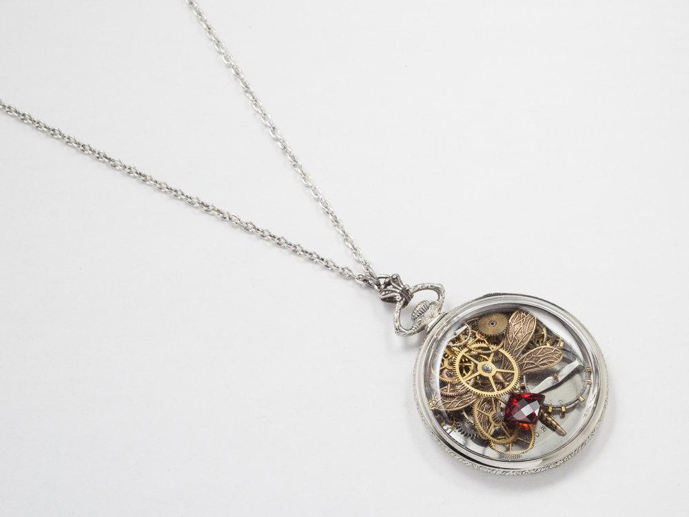 Steampunk Pocket Watch Case Necklace 14k White Gold