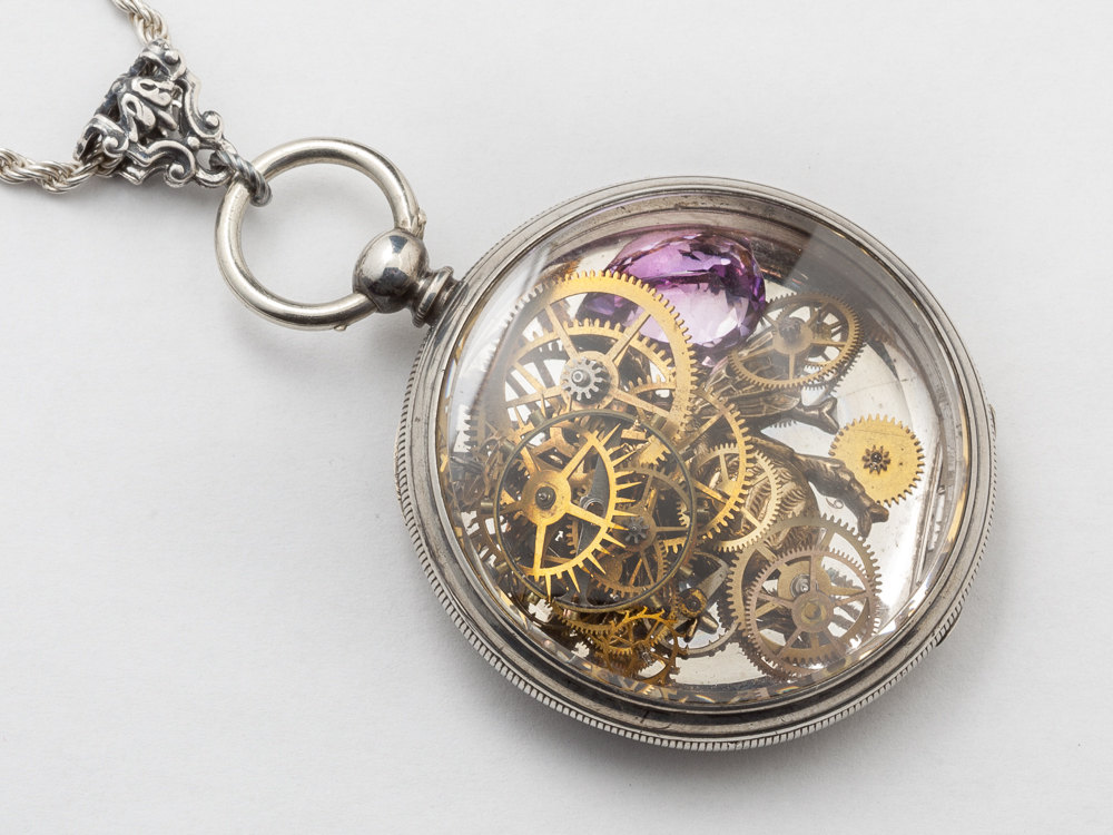 Steampunk Necklace pocket watch movement case gears Amethyst gold bumble bee Sterling Silver rope chain locket pendant necklace