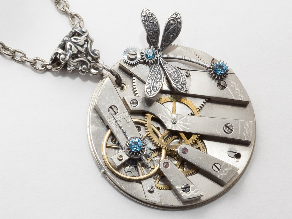 Steampunk Necklace pocket watch movement gears aquamarine blue crystal silver dragonfly flower pendant necklace Statement