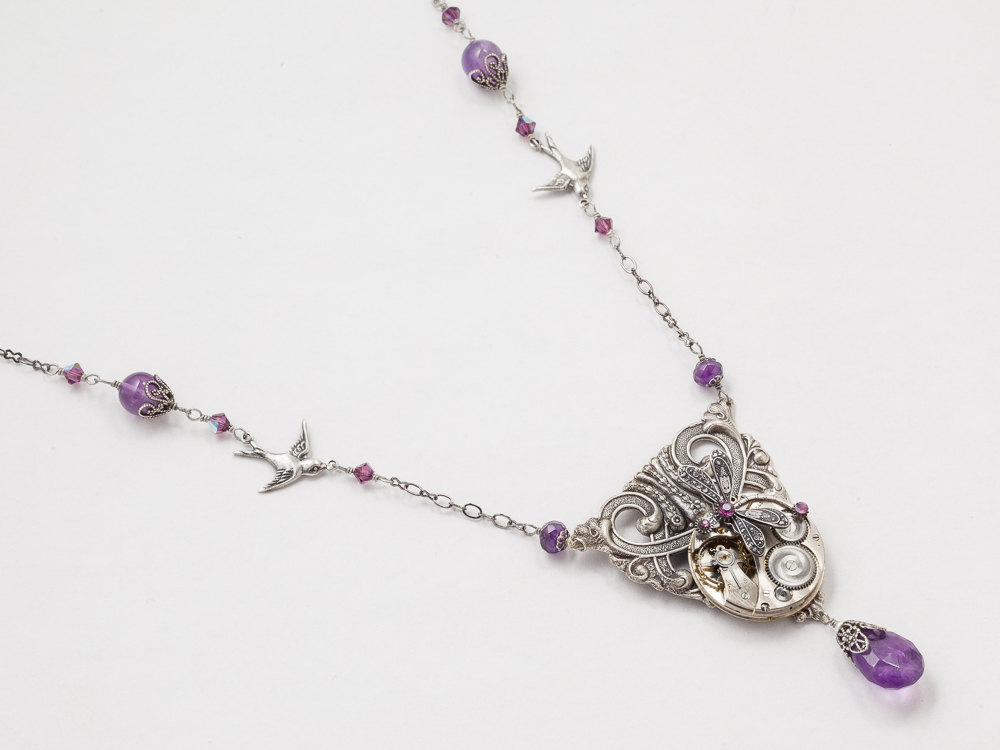 Steampunk Necklace Pocket watch movement gears with Amethyst pearl purple crystal silver dragonfly pendant Statement Necklace