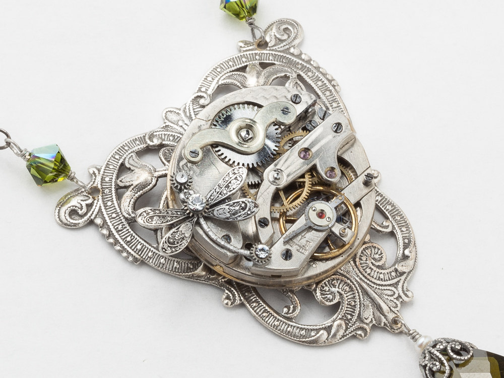 Steampunk Necklace Pocket watch movement silver dragonfly leaf flower filigree green crystal pearl Victorian Steampunk jewelry