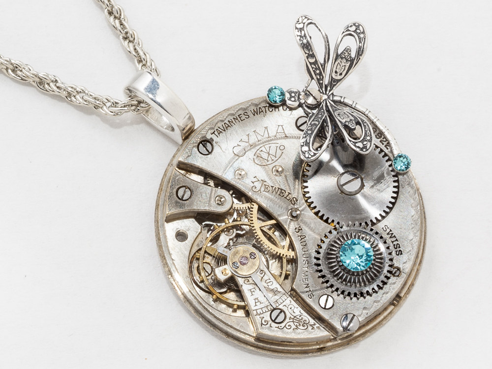 Steampunk Necklace Pocket Watch Movement Steel Gears Set With Blue Topaz Crystal Silver Dragonfly Charm On Rope Chain