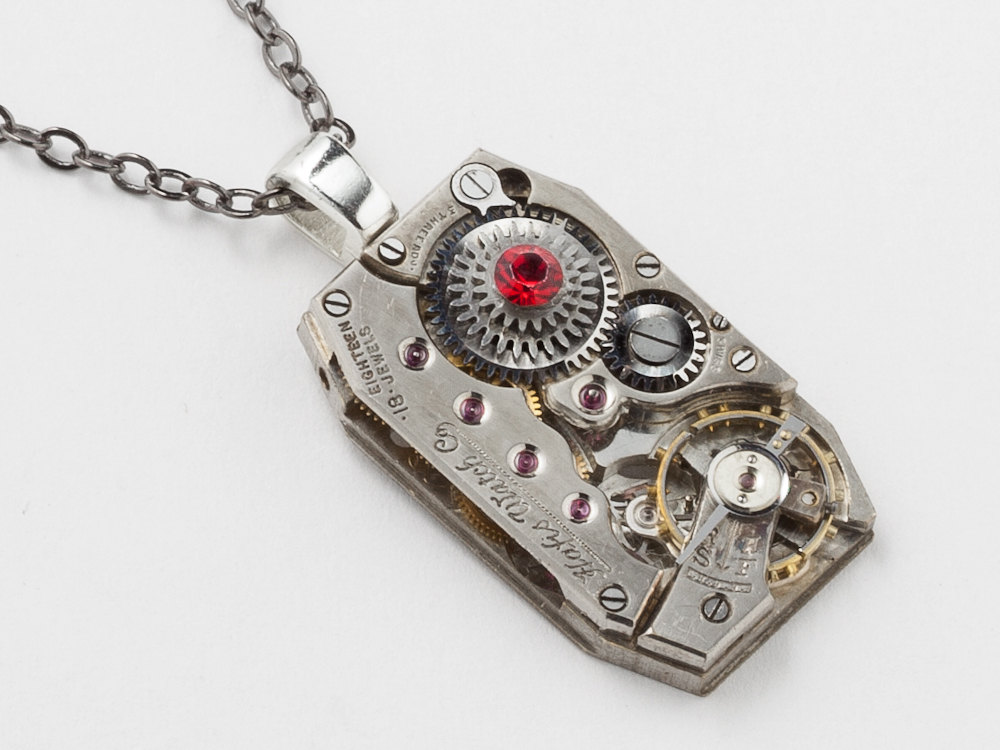 Steampunk necklace rare silver watch movement gears ruby red crystal steampunk necklace rare silver watch movement gears ruby red crystal unisex pendant industrial men jewelry mozeypictures Choice Image