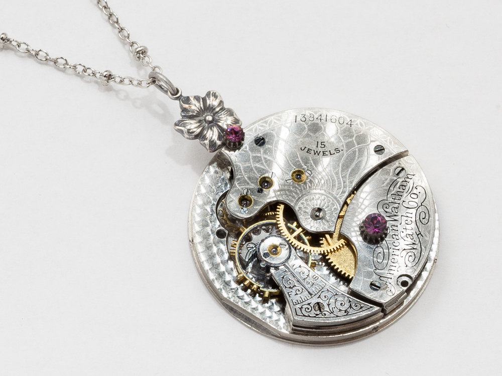Steampunk Necklace Rare Waltham pocket watch movement with purple Amethyst Swarovski crystal silver flower pendant jewelry