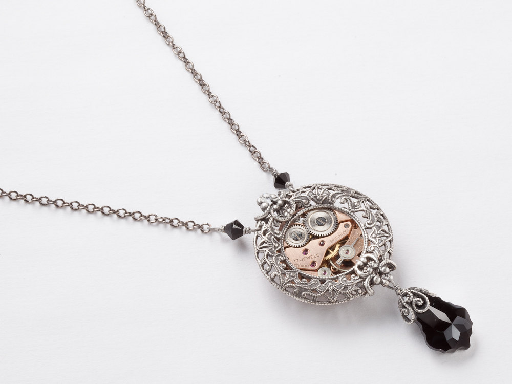 Steampunk Necklace rose gold watch movement gears black crystal