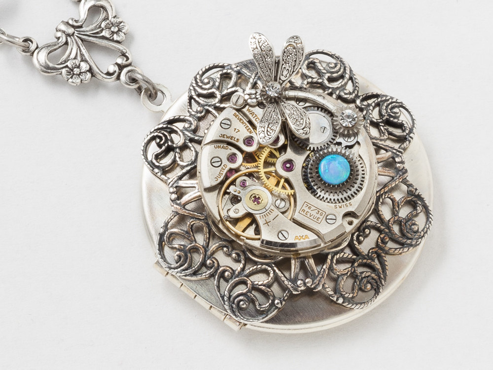 silver with watch charm necklace filigree lockets locket blue flower dragonfly and steampunk opal movement crystal round