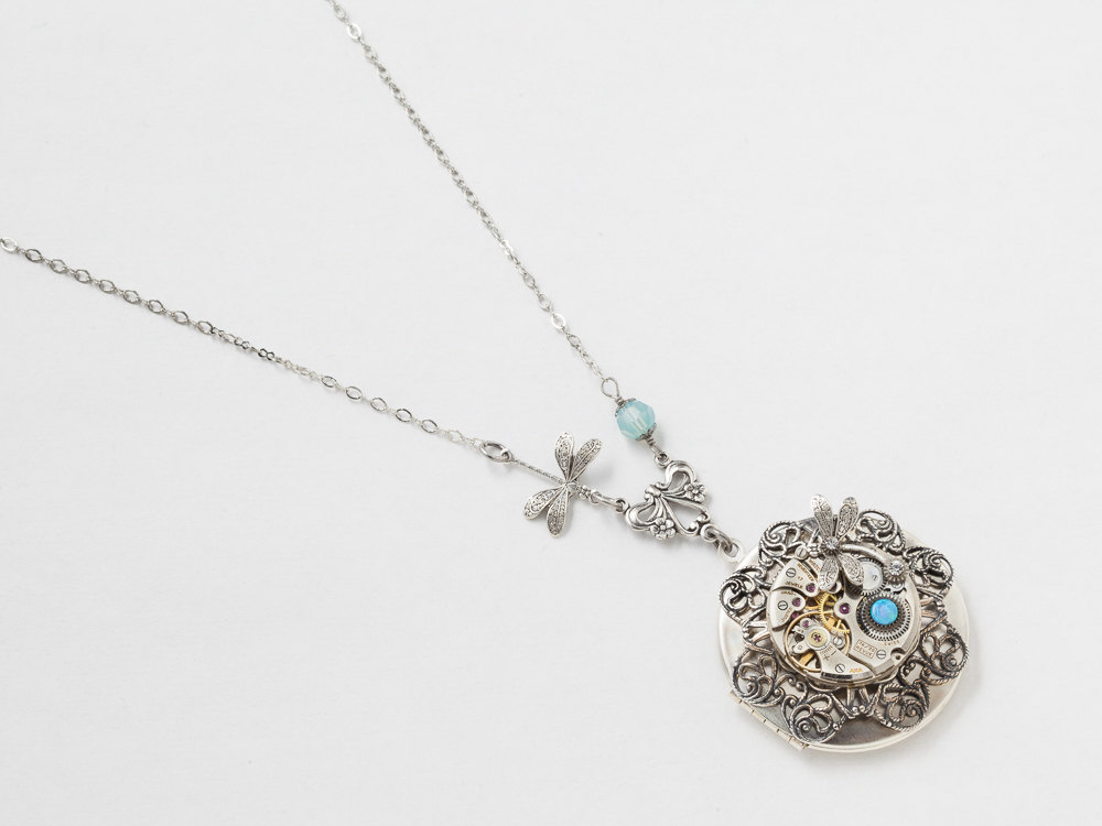 Steampunk Necklace Round Silver Locket Watch Movement with Flower Filigree Dragonfly Charm Opal and Blue Crystal