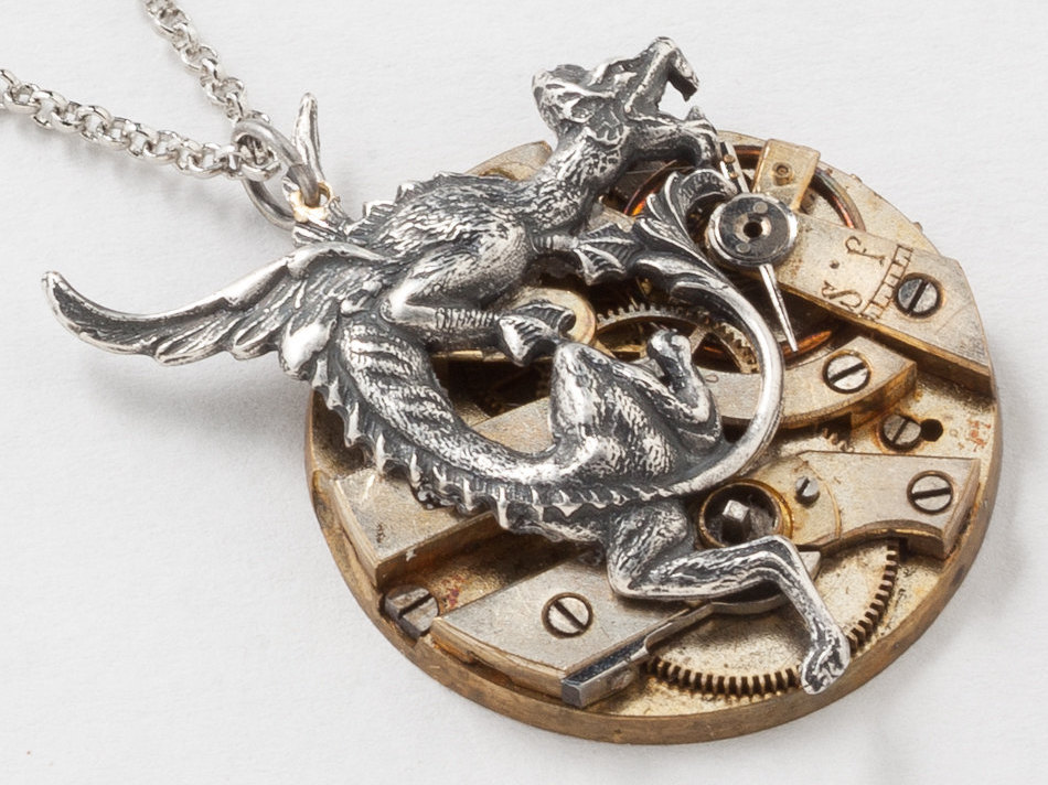Steampunk Necklace Silver Dragon Pendant with Victorian Pocket Watch Movement Ruby Jewels on Silver Chain Clockwork