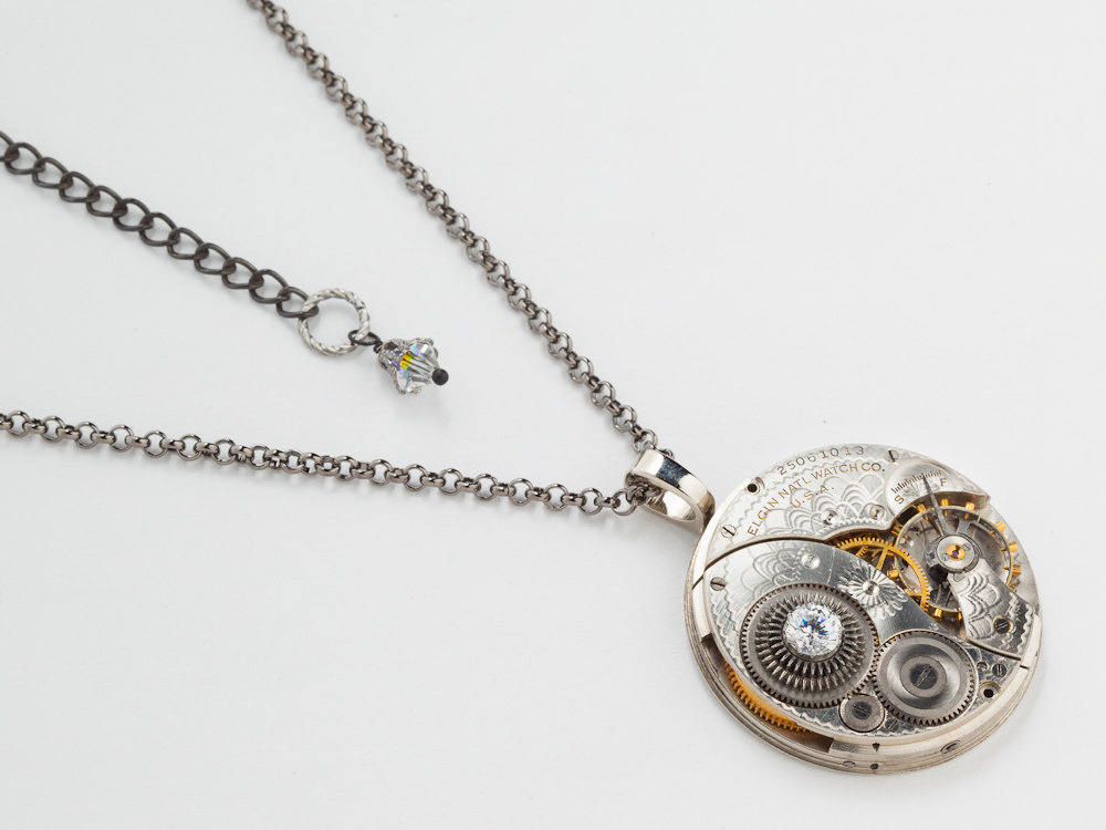 Steampunk Necklace silver Elgin pocket watch movement gears engraved