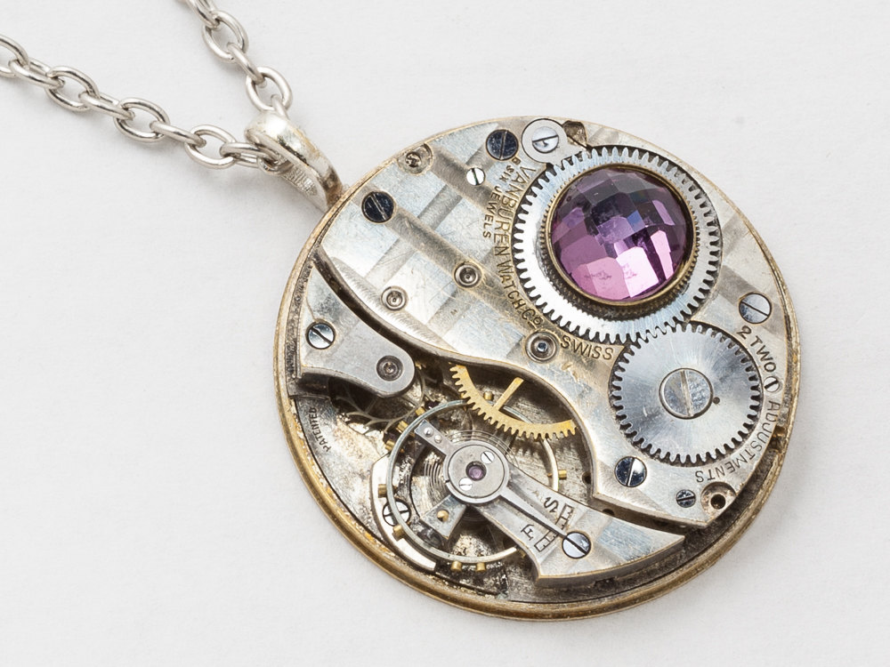 Steampunk Necklace silver pocket watch movement gears amethyst crystal pendant men jewelry clockwork Statement Necklace