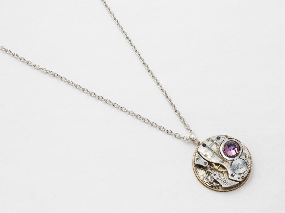 Steampunk Necklace silver pocket watch movement gears amethyst crystal pendant men jewelry clockwork Statement Necklace