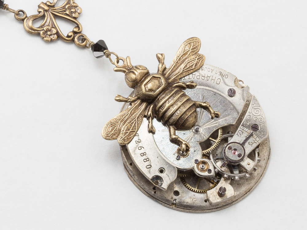 6fde585f8 Steampunk Necklace silver pocket watch movement gears gold bumble bee black  crystal flower filigree pendant Steampunk