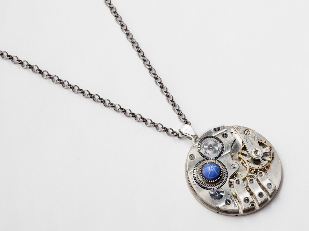 Steampunk Necklace silver pocket watch movement gold gears Blue Star Sapphire