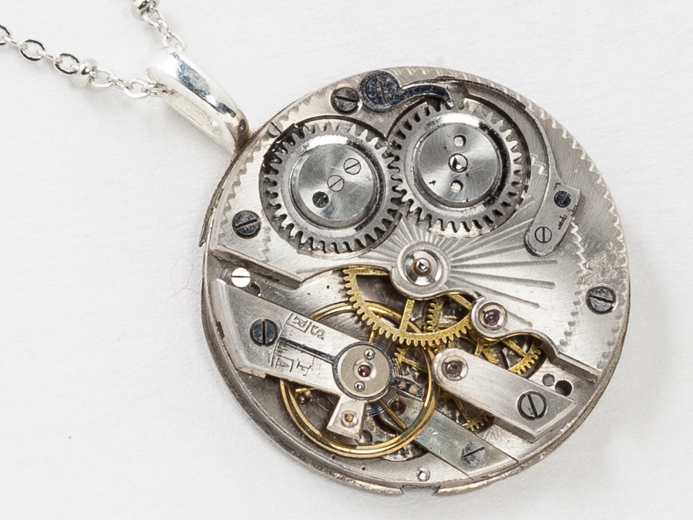 Steampunk Necklace Silver Pocket Watch Movement with Ruby Jewels and Pinstripe Engraving Victorian Pendant Statement Necklace