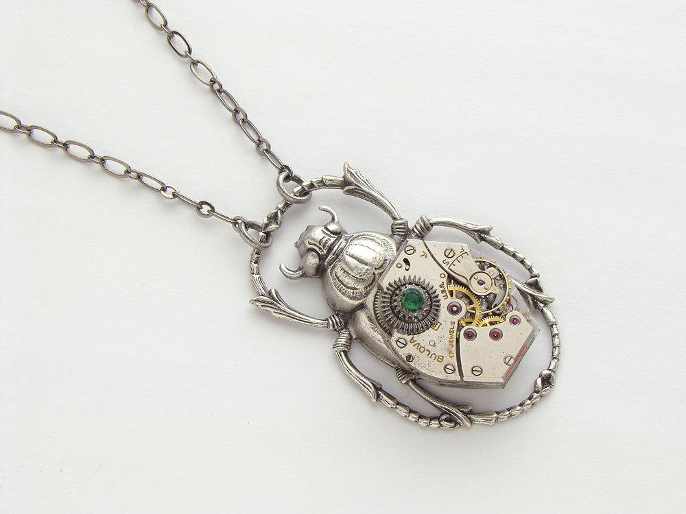 Steampunk necklace silver scarab beetle wristwatch movement gears steampunk necklace silver scarab beetle wristwatch movement gears genuine emerald aloadofball Gallery