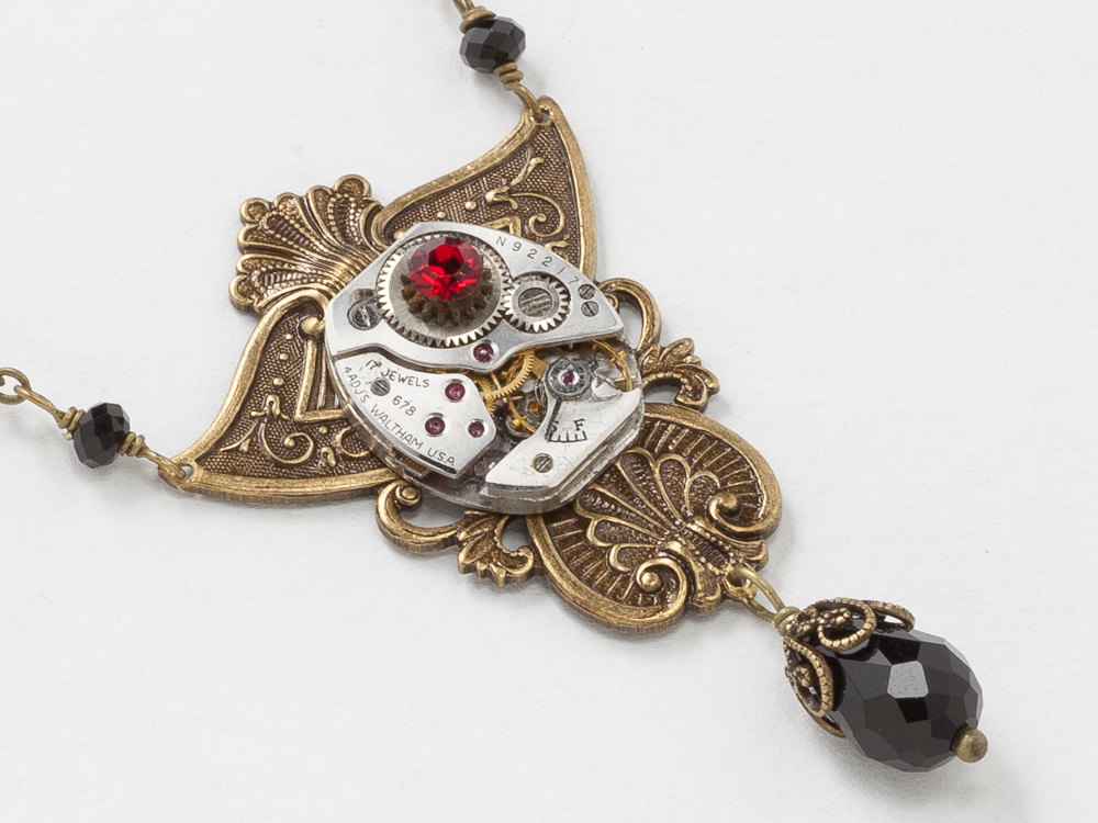 Steampunk Necklace Silver Waltham Watch with Gears Black Crystal Beads Ruby Red Stone on Gold Filigree Statement Jewelry