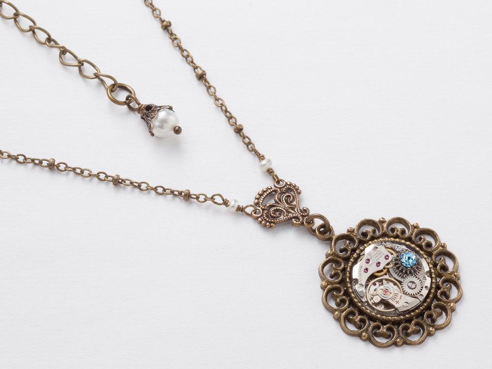 Steampunk Necklace silver watch movement gears blue aquamarine ...