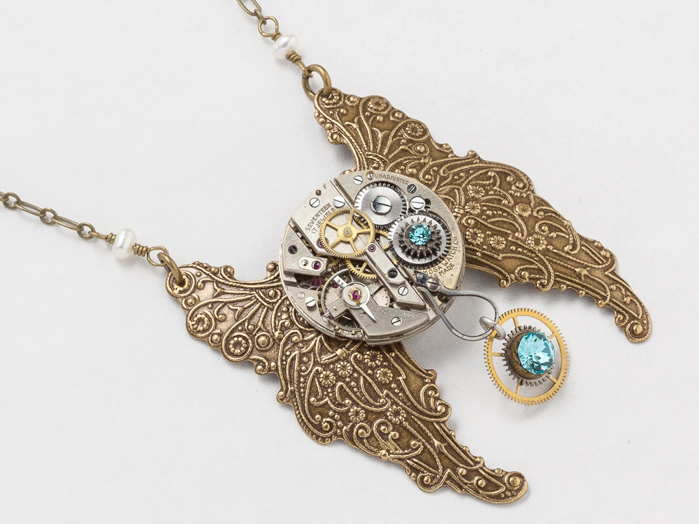 Steampunk Necklace silver watch movement gears blue crystal with pearl flower gold wings butterfly pendant Statement Necklace