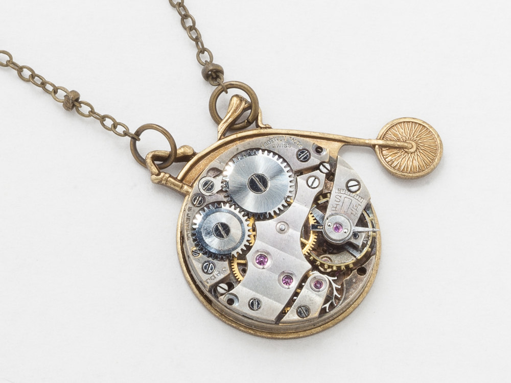 Steampunk necklace high wheel bicycle pendant with silver watch steampunk necklace silver watch movement gears gold high wheel bicycle unisex men pendant steampunk jewelry aloadofball Gallery