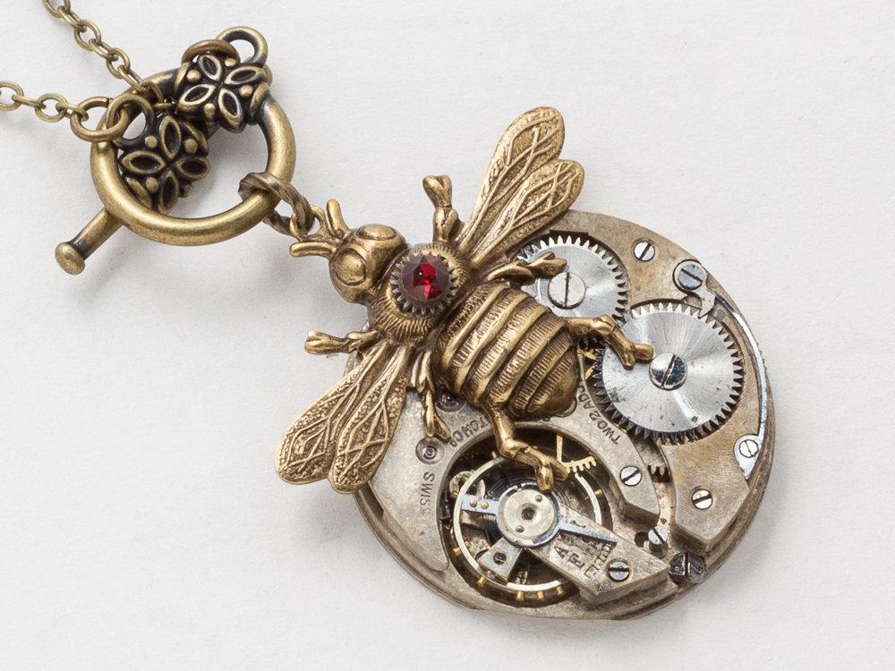 Steampunk Necklace silver watch movement gold bee pendant red garnet Swarovski crystal Statement Necklace Steampunk jewelry