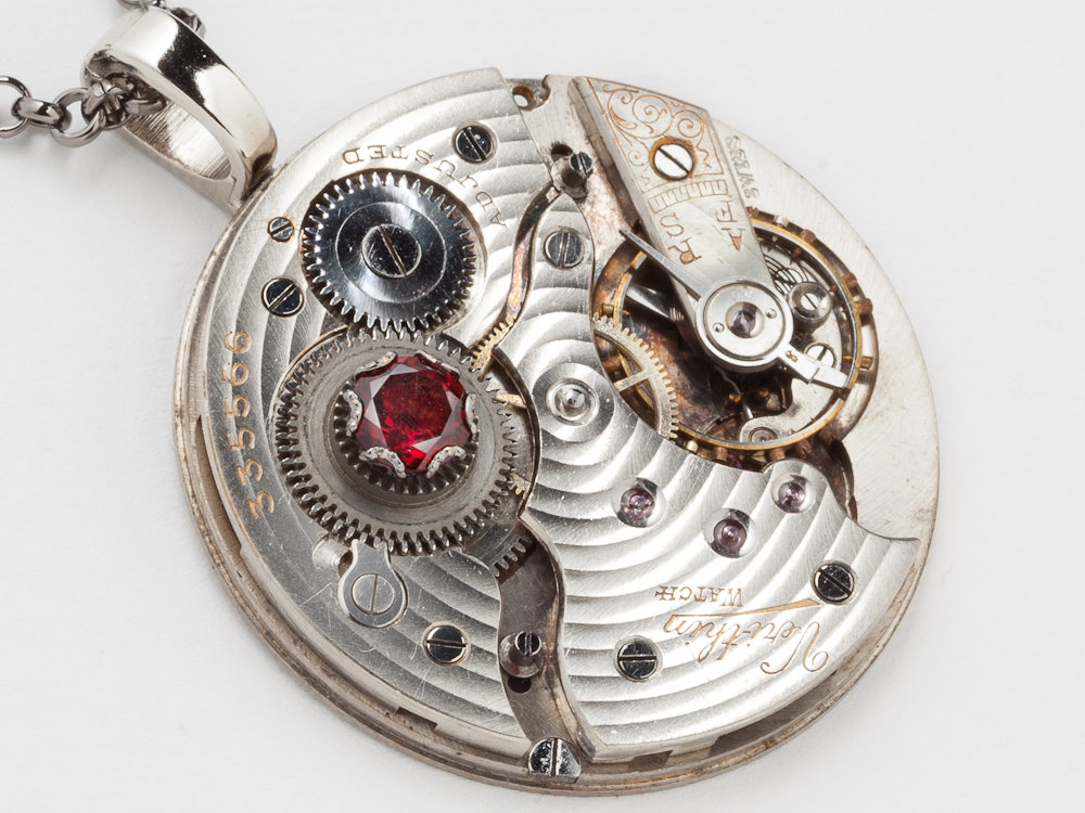 Steampunk necklace silver watch movement gold gears genuine red steampunk necklace silver watch movement gold gears genuine red garnet unisex mens womens pendant jewelry mozeypictures Gallery