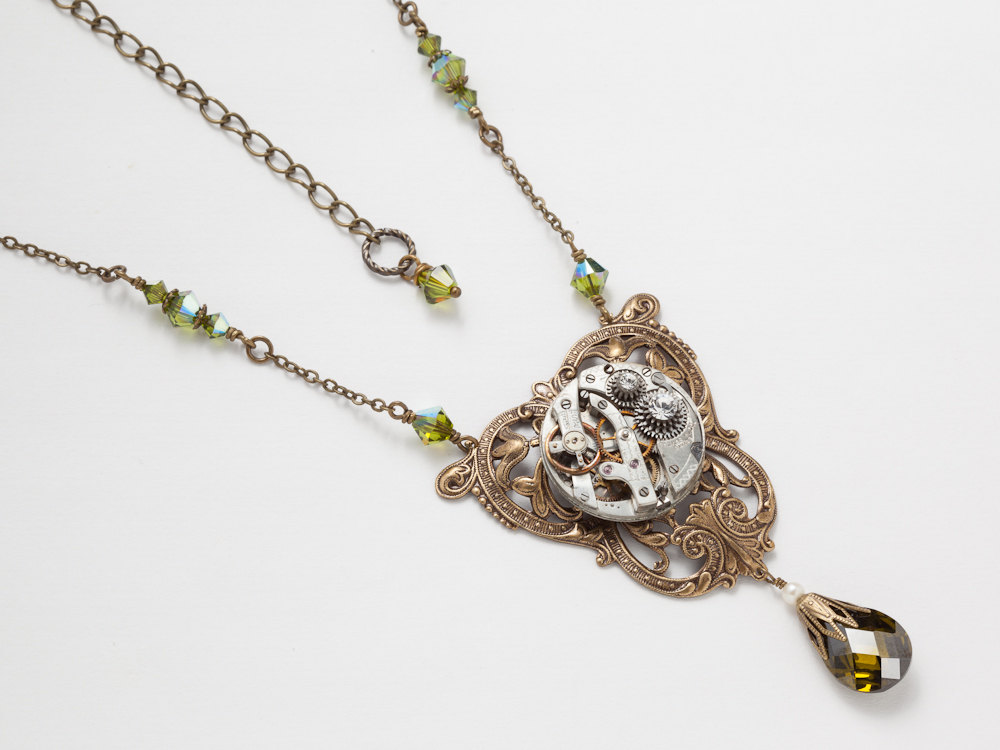 Steampunk Necklace silver watch movement gold leaf flower filigree green crystal pearl jewelry