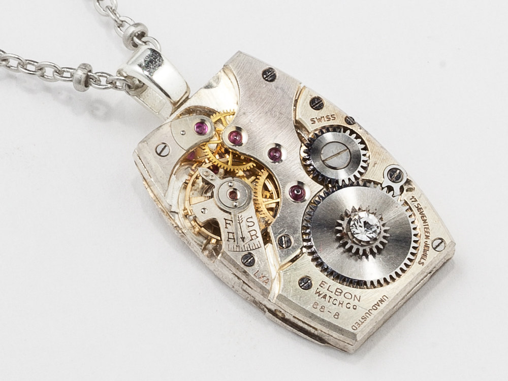 Steampunk Necklace silver watch movement Swarovski crystal unisex