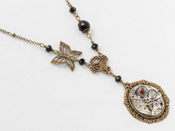 Steampunk Necklace Silver Watch Movement with Gold Filigree Butterfly Charm Black Crystal Beads Red Ruby Stone Jewelry