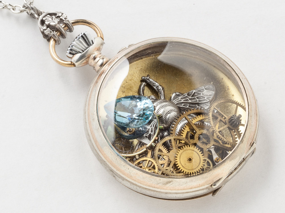 Steampunk Necklace Sterling Silver pocket watch movement case gears with Blue Topaz locket bumble bee pendant necklace jewelry