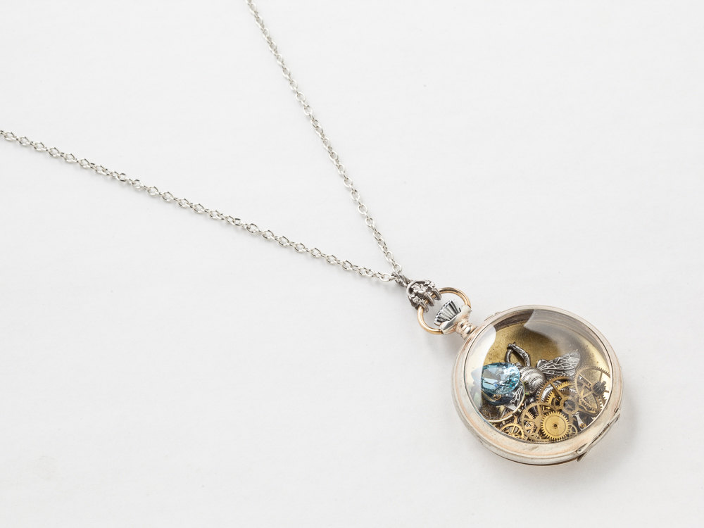 steunk necklace sterling silver pocket movement