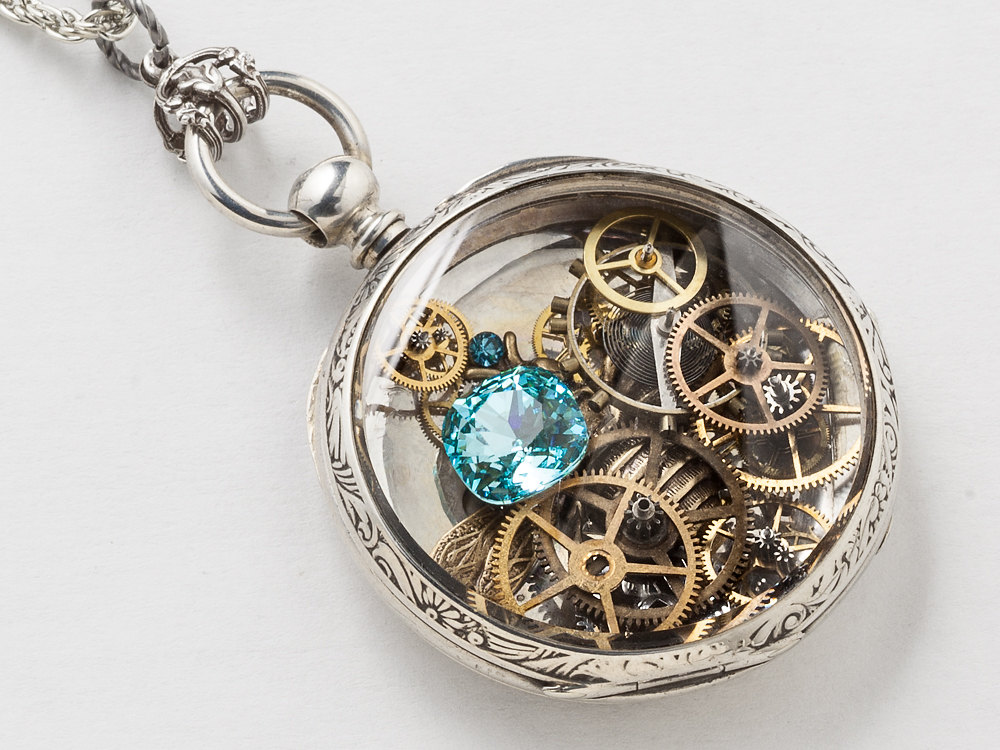 Steampunk Necklace Sterling Silver pocket watch movement ...