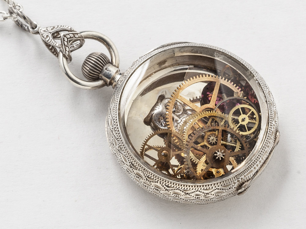 Steampunk Necklace Sterling Silver pocket watch movement case with gears owl Amethyst flower leaf engraved locket