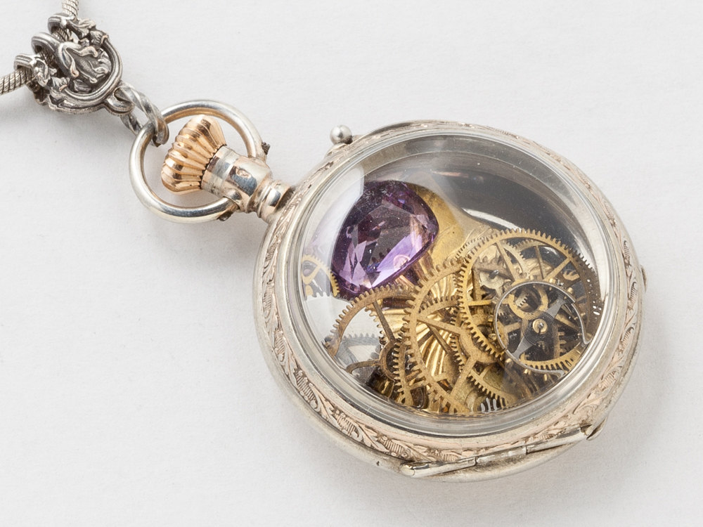 Steampunk necklace sterling silver rose gold pocket watch case gears steampunk necklace sterling silver rose gold pocket watch case gears gold butterfly pendant amethyst locket necklace jewelry mozeypictures Image collections