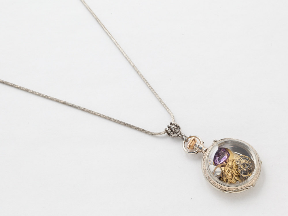 Steampunk Necklace Sterling Silver rose gold pocket watch case gears gold butterfly pendant Amethyst locket necklace jewelry