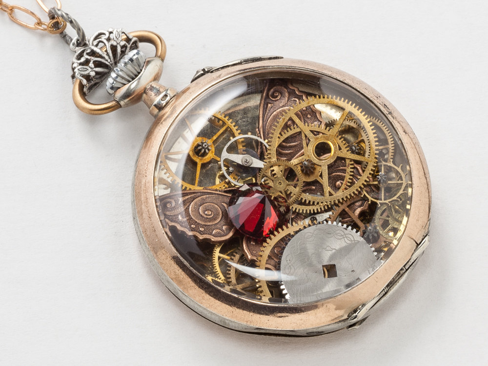 Steampunk Necklace Sterling Silver Rose Gold pocket watch case gears
