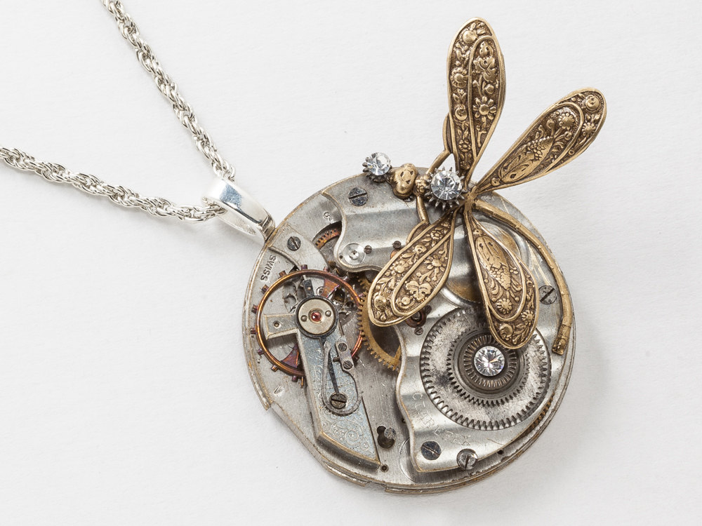 Steampunk Necklace Victorian Silver Pocket Watch Movement with Crystal set in Steel Gears and Gold Dragonfly Pendant Statement Necklace