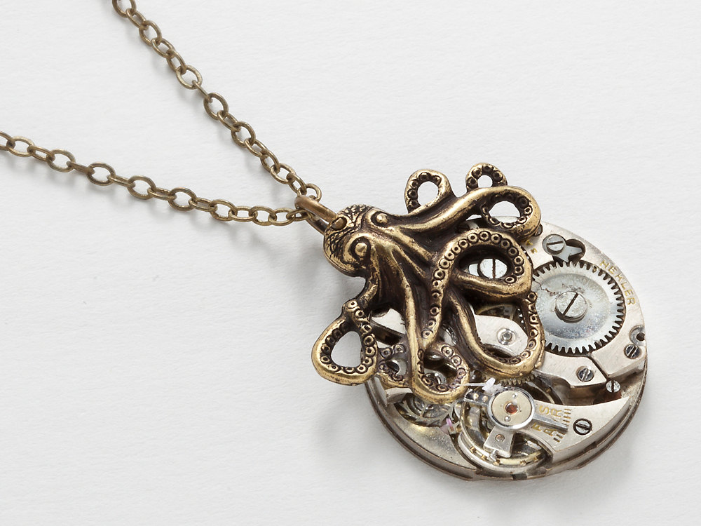 Steampunk Necklace vintage silver watch movement gold octopus