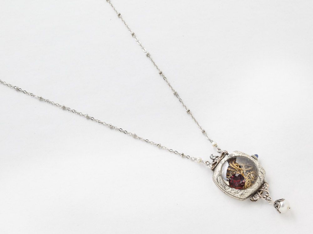 Steampunk Necklace watch case 14k white gold filled gears bird pendant red garnet blue sapphire pearl Statement necklace