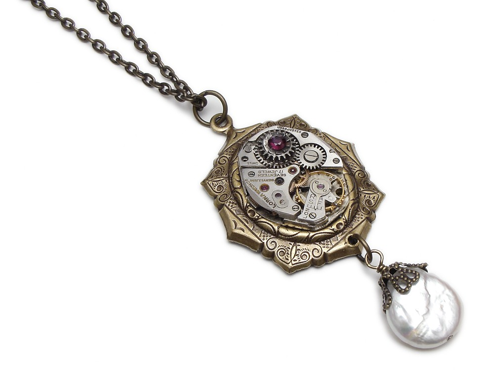 e31018c66d486d Steampunk Necklace watch gear movement antique 1940 gold silver genuine ruby  and coin pearl capped in filigree neo victorian motif bezel vintage pendant
