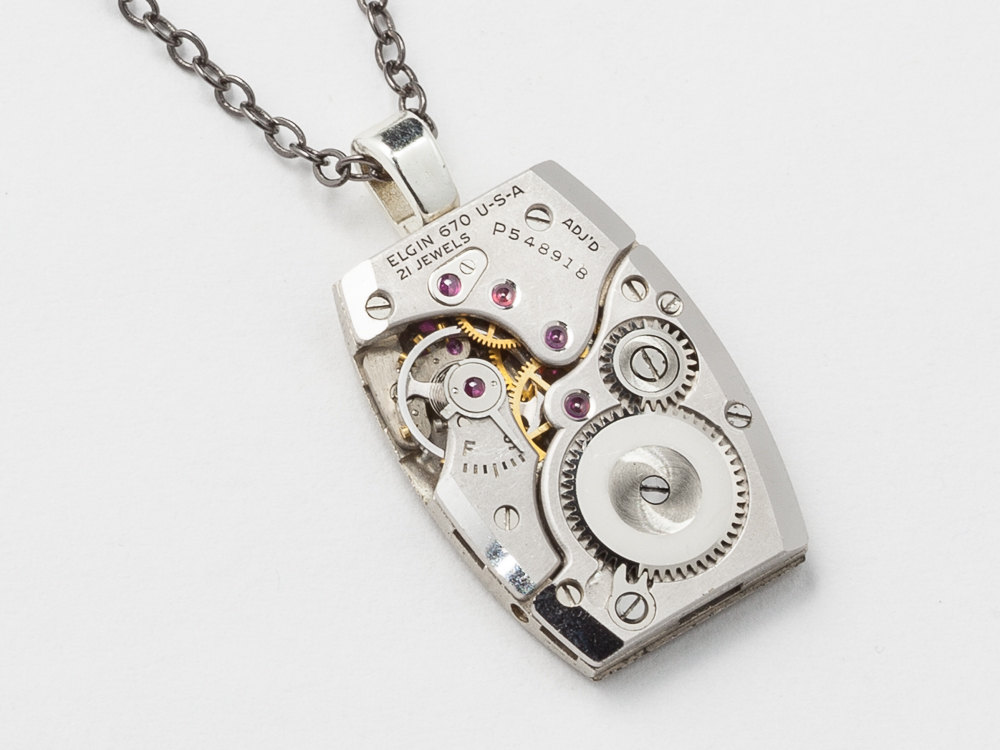 Steampunk necklace watch movement gears elgin silver tank style steampunk necklace watch movement gears elgin silver tank style pendant unisex mens womens steampunk jewelry mozeypictures Images