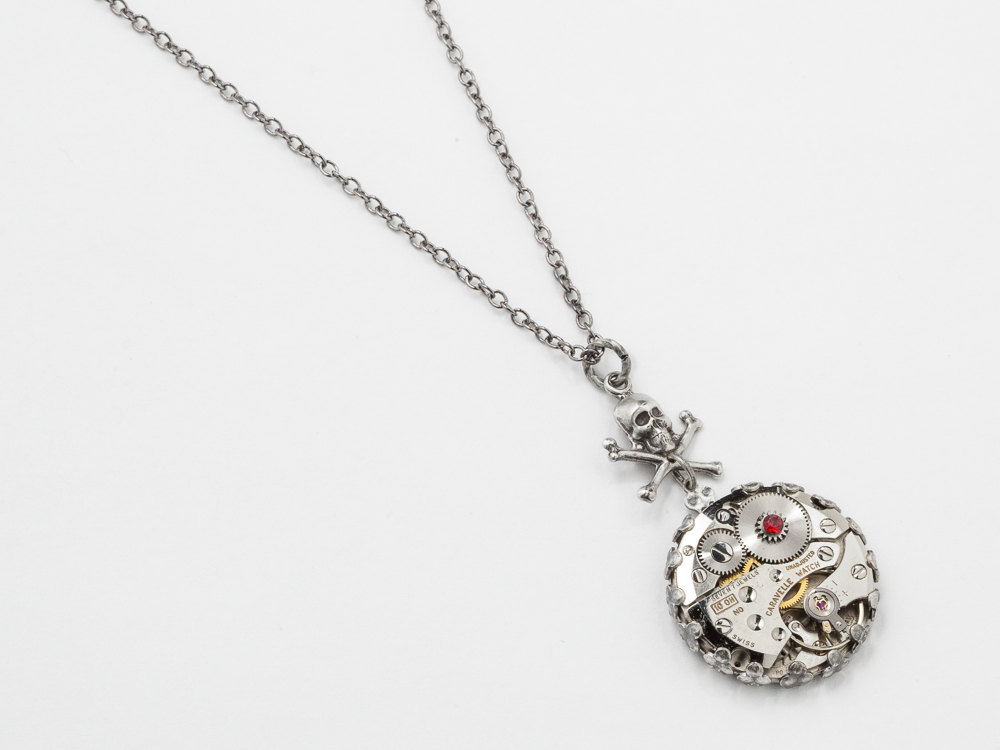 Steampunk necklace with watch movement and gears with red garnet steampunk necklace watch movement gears garnet red crystal silver filigree skull crossbones unisex aloadofball Gallery