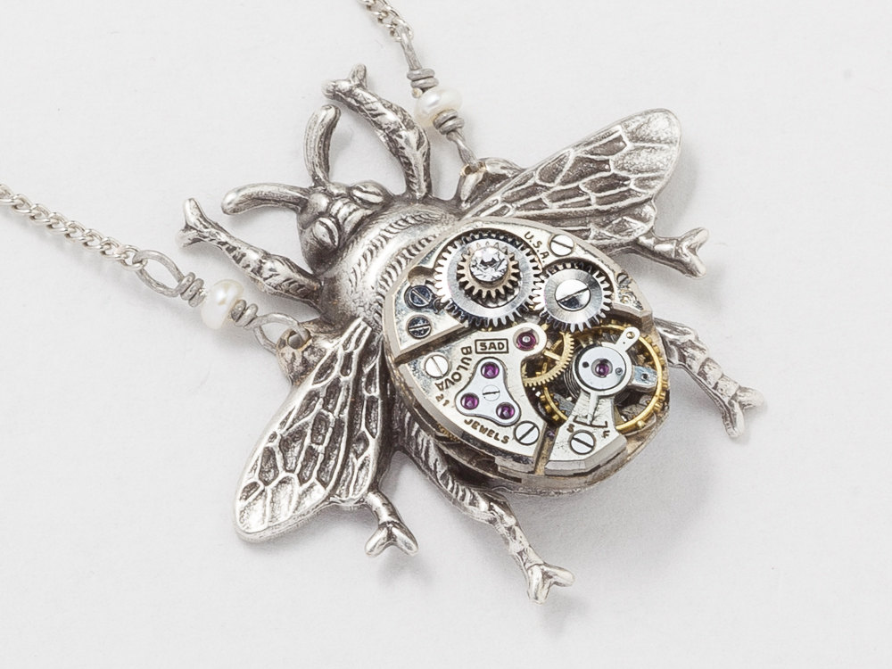 Steampunk jewelry bumble bee necklace watch movement pendant steampunk necklace watch movement gears with genuine pearl swarovski crystal silver bumble bee pendant necklace jewelry aloadofball Choice Image